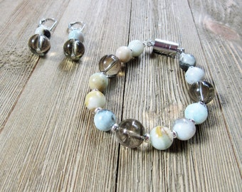 Smokey quartz and amazonite - natural stone earrings bracelet set - amazon stone jewelry magnetic closure