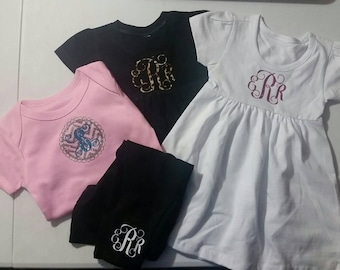 Monogram baby clothes