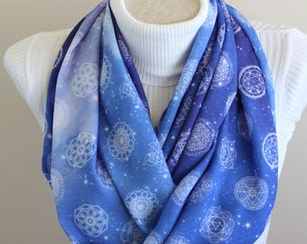 Sacred Geometry Scarf Metatron Infinity Scarf Metatrons Cube Sacred Geometry Gifts Geometric Accessories Math Gift for Her