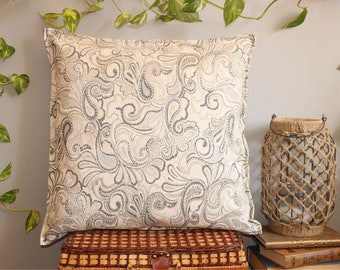 Ivory and gray paisley big square chenille pillow cover 24x24 inches