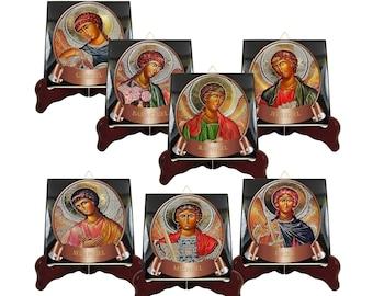 The Seven Archangels collectible icons on tiles serie - 7 Archangels - handmade - Michael Raphael Gabriel Uriel Barachiel Jehudiel Selaphiel
