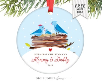 First Christmas as Mommy and Daddy Ornament New Baby Ornament Baby Bird Ornament New Parents Ornament 2018 Ornament Mommy Ornament - Ehrling