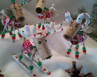 WINE CHRISTMAS ORNAMENT - Winedeer ™ - Very Merry Moose-Bighorn Sheep -Cabernet
