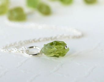 Raw Peridot Charm - Sterling Silver Pendant - ADD ON Dangle - Natural Spring Green Gemstone - August Birthstone - Pandora Compatible
