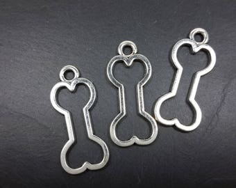 Charm large bone, dog animal necklace, pendants, silver, Metal charm pendant 25 x 11 mm