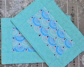 Teal and Blue Mug Rug - Office Snack Mat - Quilted Mug Mat - Mini Placemat -  Mug Mat - Snack Mat Coaster
