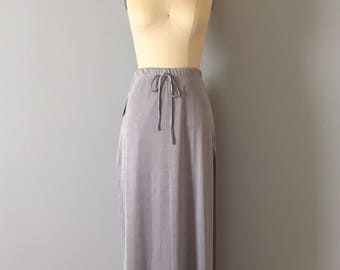 cloudy gray maxi skort | 1990s mini shorts maxi skirt | high side slits skirt