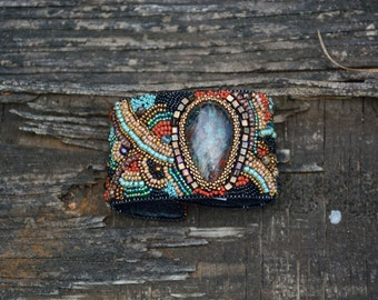 Bead Embroidery Sunset Chrysacola cabachon buckskin leather