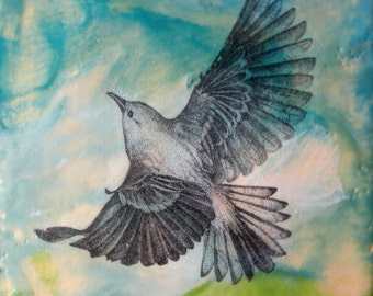 Soaring Bird - Original Encaustic Painting