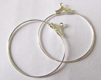 Hoop Earrings -50pcs Silver Plated Brass Earring Findings 30mm Dangle W137