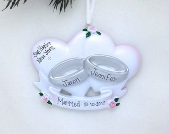 Wedding Rings Personalized Christmas Ornament / Wedding Ornament / Personalized Ornament / First Christmas Married