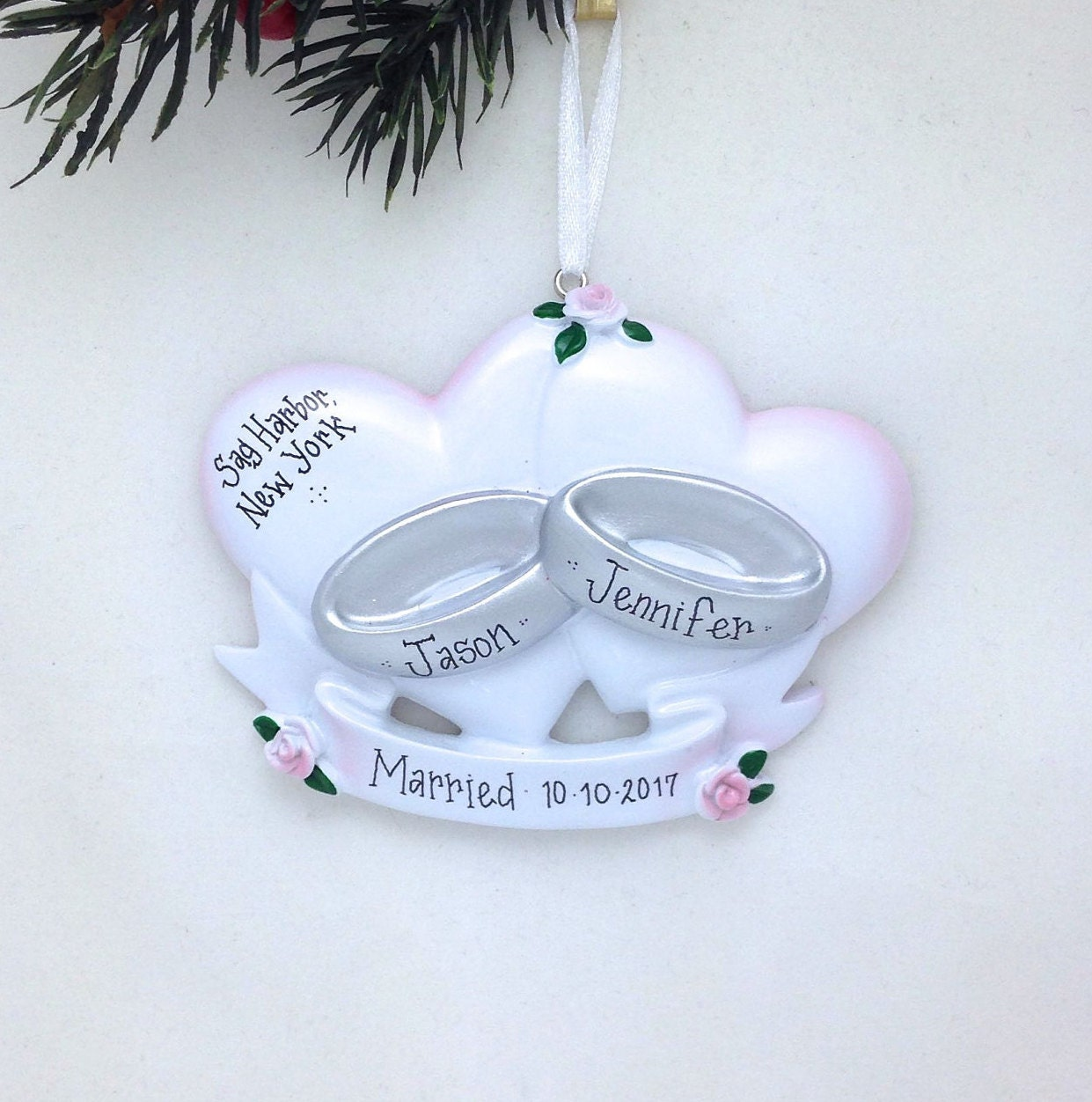 Wedding Rings Personalized Christmas Ornament / Wedding Ornament ...