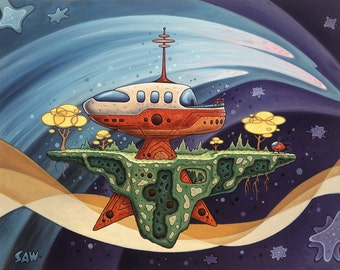 Modern Home, Space Art, Futuristic, Mod House, Rocket, Love, Archival Print, Oil Painting, Scott Saw, Space Trees, Outer Space, Wall Art