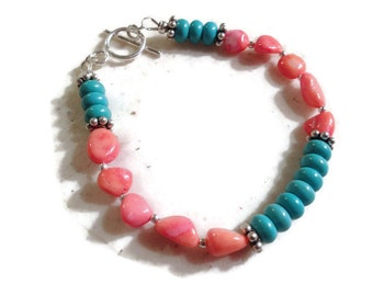 Coral & Turquoise Bracelet - Sterling Silver Jewelry - Gemstone Jewellery - Fashion - Mod - Beaded