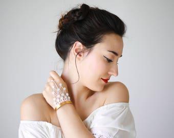 Slave Bracelet Handle Bracelet Lace Bracelet White Choker Bridal Bracelet Bridal Jewelry Wedding Bracelet Wedding Jewelry/ DIANARA