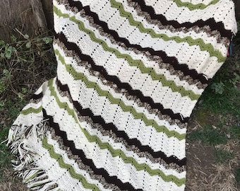 Vintage Hand Crochet Olive Green, Off White and Brown Waves Afghan or Lap Throw with Fringe