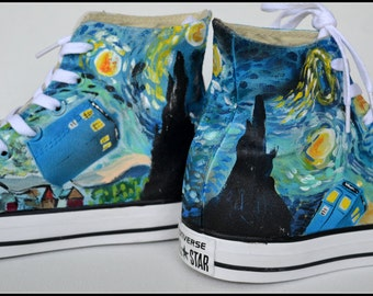 DOCTOR WHO hand painted shoes, painted mens converse, Doctor Who Converse, custom sneakers, Unisex Hightop Sneakers