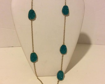 Long blue and gold faux druzy chunky statement necklace
