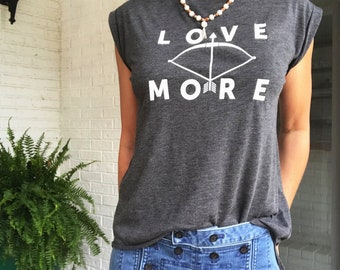 Love More - Graphite Rolled Cuff Muscle Tee