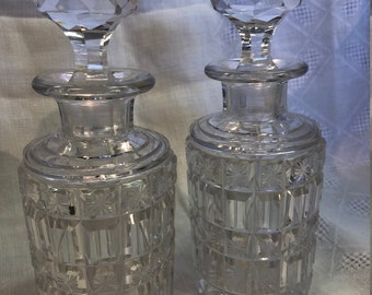 Pair Of Crystal Hand Cut Decanters, Crystal Stopper, Stars and Blocks in Pattern