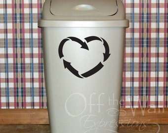 Recycle decal, heart recycling, trash can sticker, think green, environmental decal, kitchen wastebasket garbage, reduce reuse