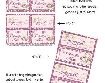 Printable Mothers Day Bag Topper - Digital Bag Topper - Gift For Mom - Treat Bag Topper - Potpourri Bag Topper