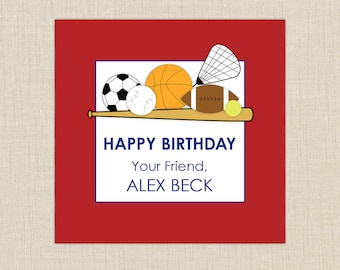 birthday gift labels, gift labels kids, personalized gift labels, sports gift labels. Set of 25