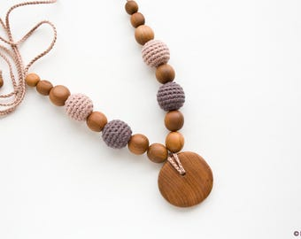 ORGANIC COTTON Teething Necklace for Mom - Dark Chocolate - Wood Necklace, Chewing Necklace, Breastfeeding, New Mom Gift - NB10