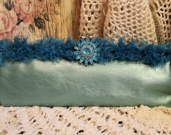Ladies Glamorous Turquoise Clutch Purse