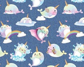 Narwhals on faux denim CL knit euro import 1/2 yard new