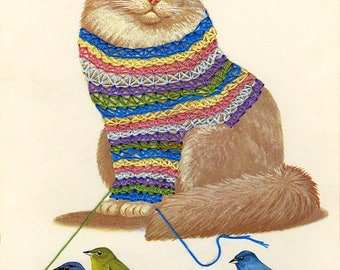 Smitten with a knittin' kitten.  Limited edition collage print by Vivienne Strauss.