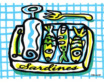 Green Sardines small poster by Mike Levy 400mm x 300mm Fish/print/30x40cm