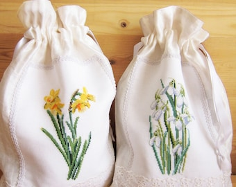 Drawstring bag Housewarming gift Hostess gift Storage bag embroidery Flower bag Home decor Birthday gift women Gift Wedding gift for wife