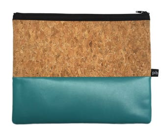 Pb_pochette Large, Turquoise and cork leather clutches, handmade, hand bag, glove holder, tricks