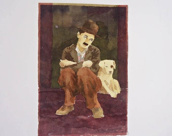 Charlie  Chaplin  Origtnal  Watercolor painting