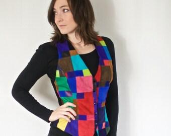 Vintage Color Block Vest | 1980s Abstract Colorblock Vest | Wearable Art