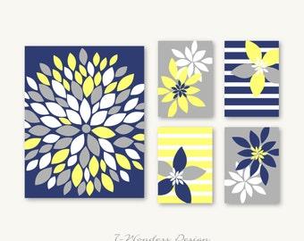 Flower Burst Wall Art, Botanicals Abstract Art Print Set of (5) - 5x7's and 11x14 // Navy, Butter Yellow, White, Grey // Modern Home Decor