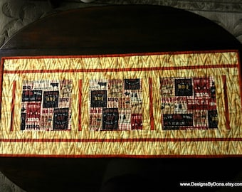 Quilted, Reversible Table Runner, Barbeque, BBQ, and Light Pine Wood Grain, Flame Quilting Pattern, Handmade Table Linens