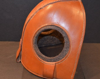 Vintage Leather Felt Lined Horse Hood