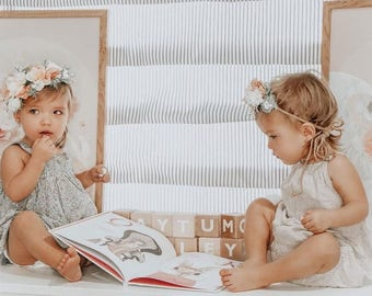 Tieback Flower Crown, Toddler Flower Crown, Newborn Flower Crown, Baby Photo Prop, Birthday Crown, Baby Flower Crown, Holiday Flower Crown