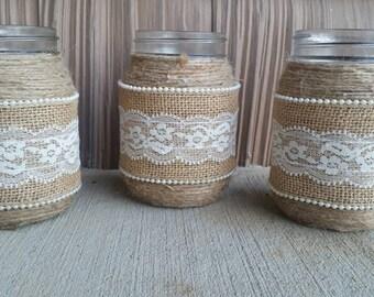 Burlap Mason Jar, Burlap and Lace Mason Jar,Rustic Mason Jar, Rustic Wedding,Barn Wedding,Country Wedding, Rustic Bridal Shower, Centerpiece