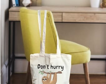 Tote canvas bag, Sloth bag, Tote bag canvas, canvas tote, sloth gift, tote bag gifts, women tote bag, women gift bag, tote bag cotton, sloth