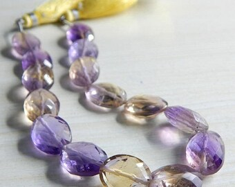 "63% OFF Ametrine Faceted Nugget Beads Oval Shape 11x10.mm Approx 8""Inches 100 Percent Natural Top Quality Wholesale Price New Arrival"