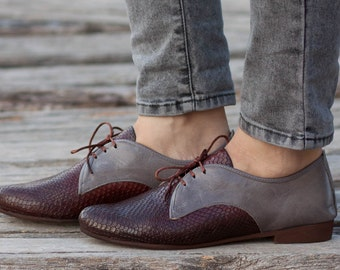 Brown Leather Shoes, Brown Oxford Shoes, Brown Shoes, Close Shoes, Flat Shoes, Brown and Grey , Free Shipping
