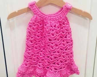 Chantilly Lace Sundress - Handmade Crochet Dress for newborn in cerise pink Bamboo Cotton