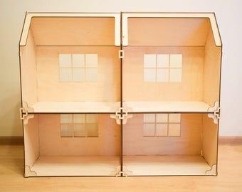 Modular doll house 4 rooms, dollhouse, Wood dollhouse, Dollhouse kit, Modern dollhouse, barbie doll house, barbie house, 1:12 scale