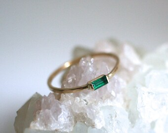 emerald baguette ring, solid 14k gold art deco ring, may birthstone, emerald engagement, vintage stack ring, rose gold