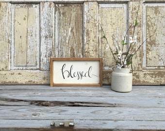 Blessed |  Medium Rustic Sign | Home Decor | Mantle Sign | Gallery Wall