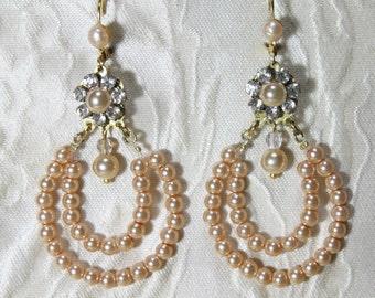 Annie - Ivory Bridal Earrings Wedding Vintage Beaded Chandelier Gold Plated Filigree Set with Swarovski Rhinestone  And drop Pearl