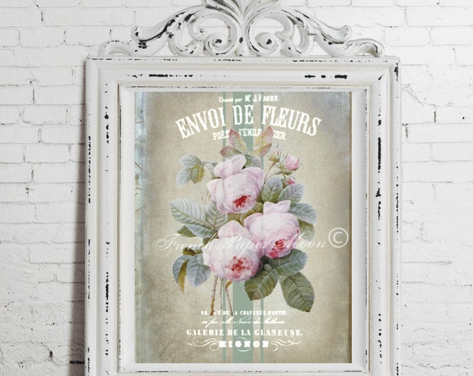 Digital French Shabby Chic Roses,  Antique Redoute Roses, Botanical French Graphic Pillow Image